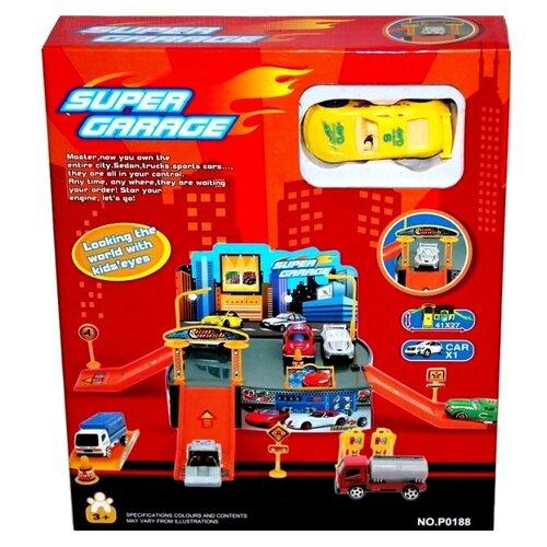 Купить Гараж Super Garage P0188 красный/оранжевый/серый, Shenzhen Jingyitian Trade, Детские парковки и гаражи