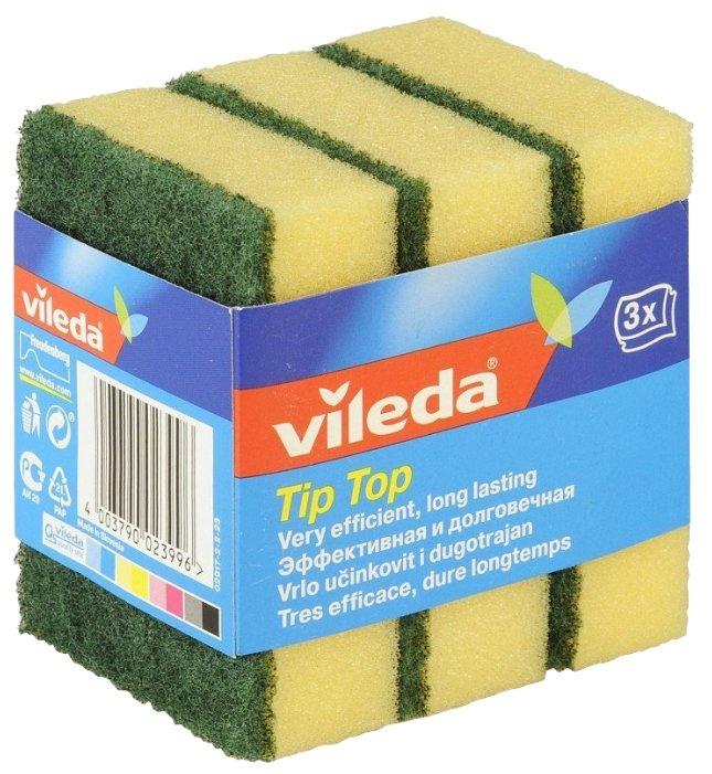 Губка для посуды Vileda Tip-Top 3 шт зеленый/желтый