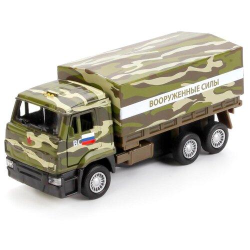 Купить Грузовик ТЕХНОПАРК КамАЗ 65207 военный (SB-16-89-B3-WB) 12 см зеленый камуфляж, Машинки и техника