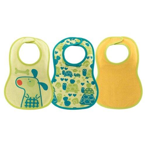 Купить Chicco Комплект нагрудников Easy Meal 6м+ (3 шт), 3 шт., расцветка: собачка/зеленый/желтый, Нагрудники и слюнявчики