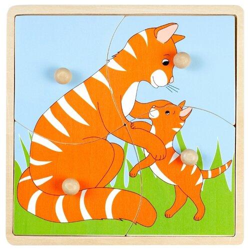 Рамка-вкладыш Маленький гений Мать и дитя Кошка (4116А), 4 дет.