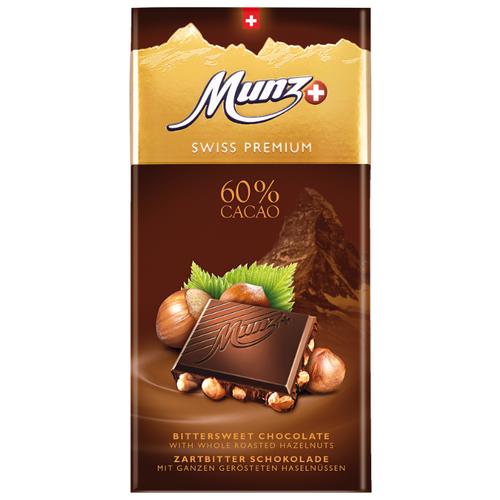 Шоколад Munz горький с обжаренным фундуком, 100 г сандалии thomas munz thomas munz mp002xw0rao9