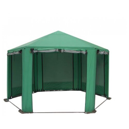 Шатер Митек Пикник Шестигранник, со стенками и москитной сеткой зеленый