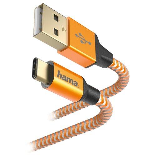 Купить Кабель HAMA USB - USB Type-C Reflective 1.5 м оранжевый