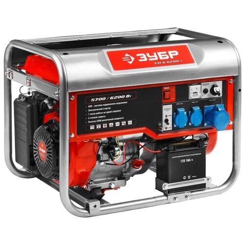 Бензиновый генератор ЗУБР ЗЭСБ-6200-Э (5700 Вт) генератор бензиновый зубр зэсб 4000 э