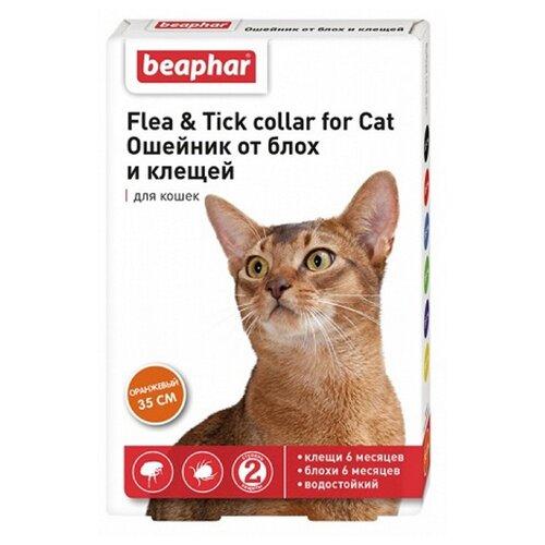 Beaphar ошейник от блох и клещей Flea & Tick для кошек, 35 см, оранжевый ошейник для кошек beaphar от блох и клещей 35см