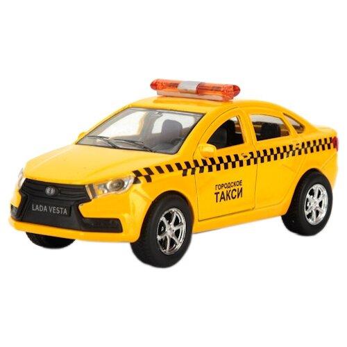 Фото - Легковой автомобиль ТЕХНОПАРК Lada Vesta Такси (SB-16-40-T), 12 см, желтый автобус технопарк рейсовый sb 16 88 blc 7 5 см желтый