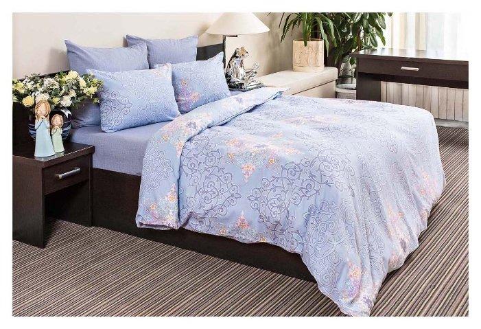 Постельное белье семейное Ночь Нежна Витраж 70х70 см, бязь голубой