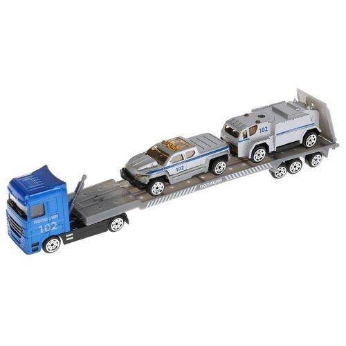 Купить Набор машин ТЕХНОПАРК Автовоз (1045B-R) 24 см серебристый/синий, Машинки и техника