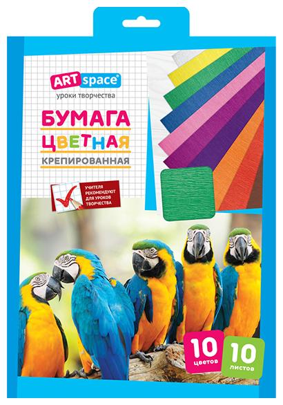 Цветная бумага крепированная в ассортименте ArtSpace, A4, 10 л., 10 цв.