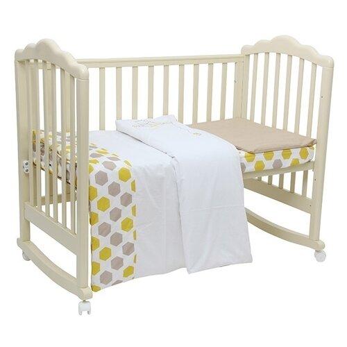 Polini комплект в кроватку Медвежонок Винни и его друзья (3 предмета) макиато/желтыйПостельное белье и комплекты<br>