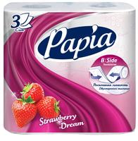 Туалетная бумага Papia Strawberry dream белая трёхслойная