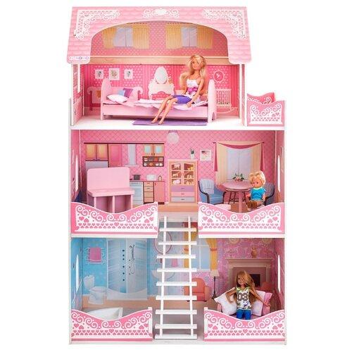 Купить PAREMO кукольный домик Адель Шарман (с мебелью) PD318-07, розовый/белый/голубой, Кукольные домики