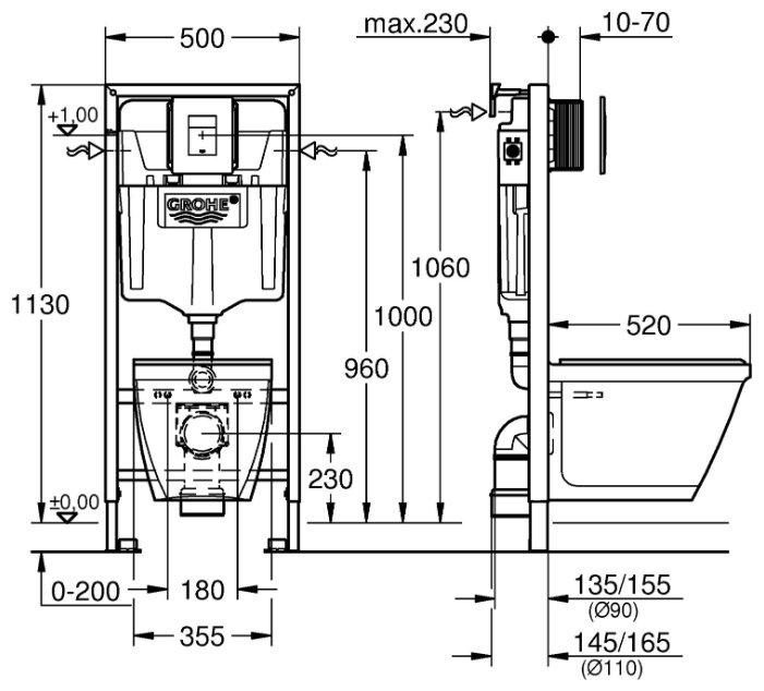 Унитаз с инсталляцией подвесной Grohe Rapid SLSolido 39186000 с горизонтальным выпуском