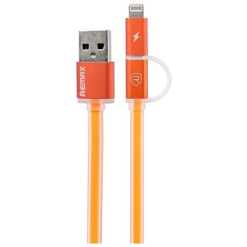 Кабель Remax Aurora USB - microUSB/Apple Lightning (RC-020t) 1 м оранжевыйКомпьютерные кабели, разъемы, переходники<br>