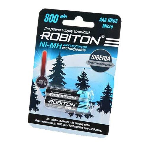 Фото - Аккумулятор Ni-Mh 800 мА·ч ROBITON Siberia AAA HR03 Micro 800, 2 шт. аккумулятор ni mh 200 ма·ч robiton 9v крона 6f22 200 1 шт