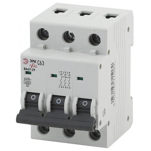 Автоматический выключатель ЭРА ВА 47-29 3P (С) 4,5kA 63 А выключатель автоматический однополюсный 6а c 4 5ka ва 47 63 ekf proxima