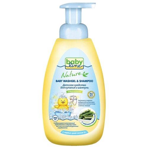 BabyLine Nature Средство для купания и шампунь с морскими водорослями 500 мл babyline шампунь для младенцев с помпой babyline 500 мл