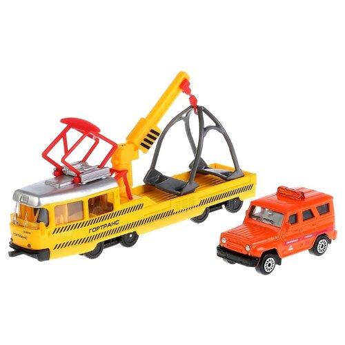 Набор техники ТЕХНОПАРК Трамвай с UAZ Hunter (SB-17-73-B+UAZ-WB) 16.5 см желтый/оранжевыйМашинки и техника<br>