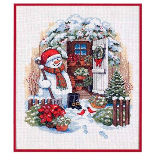 Купить Dimensions Набор для вышивания крестиком Снеговик во дворе 30 х 36 см (08817), Наборы для вышивания