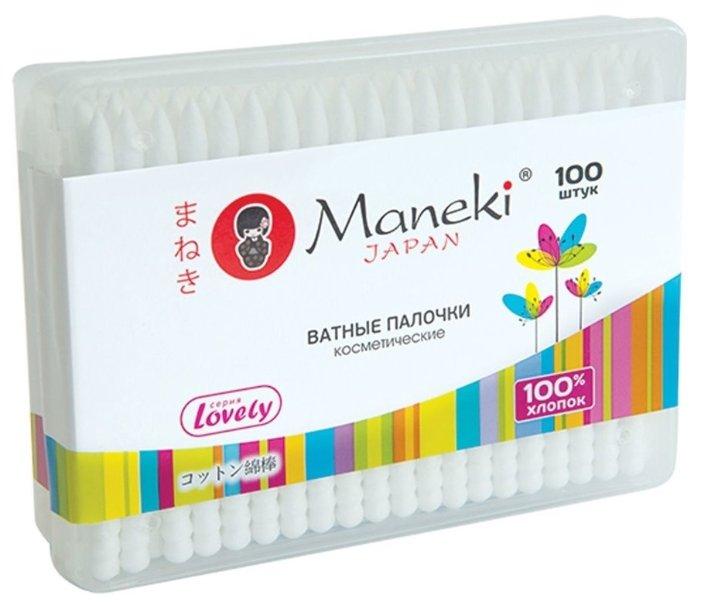 Ватные палочки Maneki Lovely с белым пластиковым стиком (CB1125)