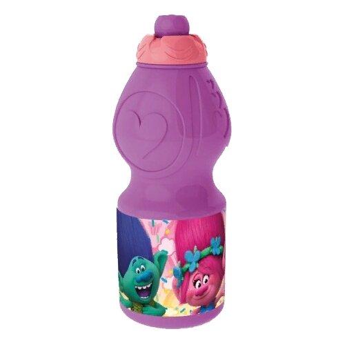 Бутылка для воды, для безалкогольных напитков Stor спортивная фигурная 0.4 пластик Тролли
