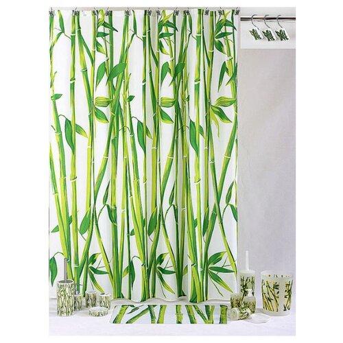 Штора для ванной Aquarius Бамбук 180х200 зеленый/белыйШторы и карнизы<br>