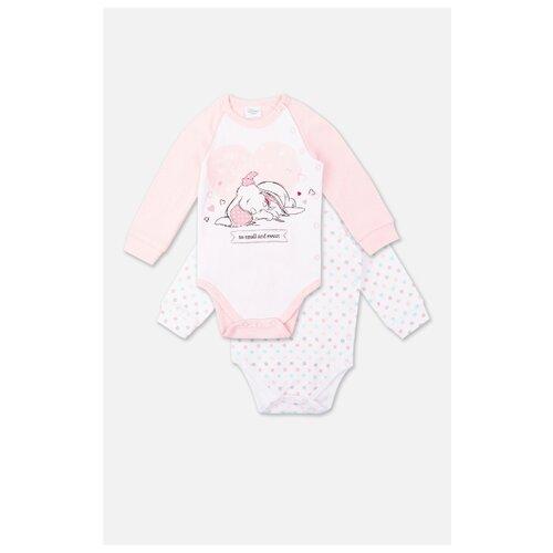 Купить Боди playToday размер 68, белый/светло-розовый/голубой