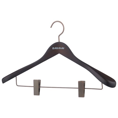 Вешалка Attribute Для верхней одежды с клипсами Prestige коричнево-черный