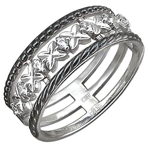 Эстет Кольцо с 7 фианитами из чернёного серебра 01К159783ЧР, размер 17.5 ЭСТЕТ