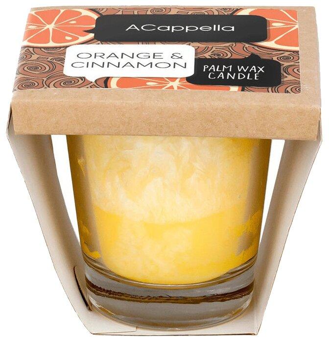 Свеча ACappella Апельсин и корица с эффектом инея из натурального пальмового воска желтый