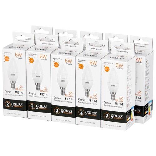 Упаковка светодиодных ламп 10 шт gauss 33116, E14, C38, 6Вт упаковка светодиодных ламп 10 шт gauss 103101107 s e14 c38 7вт