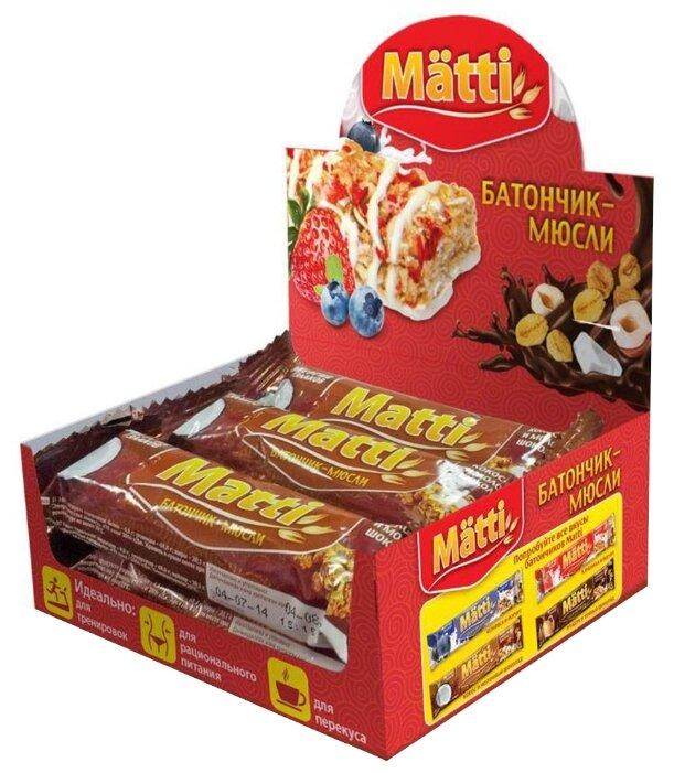 Злаковый батончик Matti Энергия злаков в шоколадной глазури Кокос и молочный шоколад, 6 шт