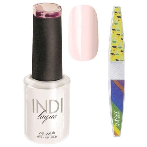 Набор для маникюра Runail пилка для ногтей и гель-лак INDI laque, оттенок 3062 набор для нейл арта пилка для ногтей runail professional гель лак indi laque тон 3708 9 мл