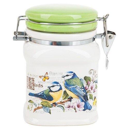 Polystar Global Art Банка для сыпучих продуктов Birds 700 мл белый/зеленый