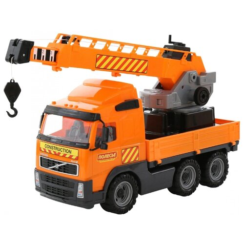 Купить Автокран Полесье Volvo с поворотной платформой (58317) 73 см оранжевый, Машинки и техника