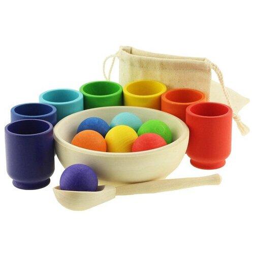 Развивающая игрушка Уланик Шарики в стаканчиках Радуга красный/зеленый/синий развивающая игрушка findustoys радуга