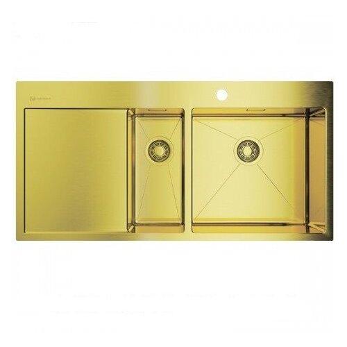 Врезная кухонная мойка 100 см OMOIKIRI Akisame 100-2-LG-R светлое золото врезная кухонная мойка 65 см omoikiri akisame 65 lg r светлое золото