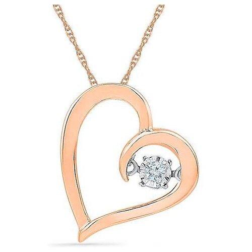 ЛУКАС Подвеска Сердце с 1 бриллиантом из красного золота P01-D-PH017615