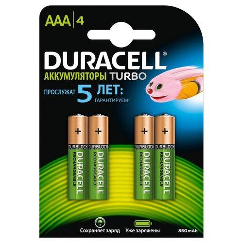 Аккумулятор Ni-Mh 850 мА·ч Duracell Turbo AAA/HR03 4 шт блистер
