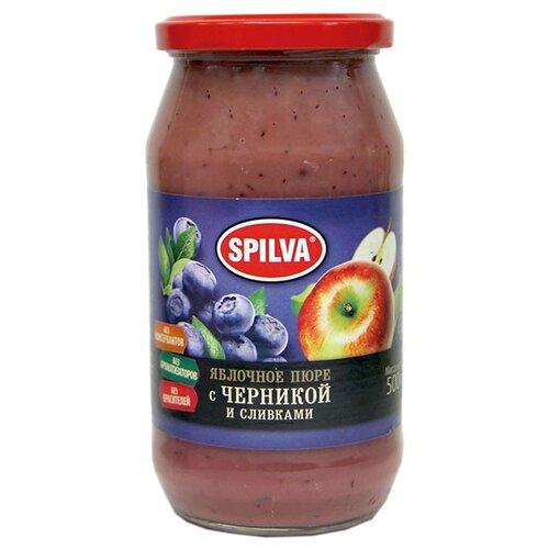 Пюре Spilva яблочное с черникой и сливками, банка 500 гВаренье, повидло, протертые ягоды<br>