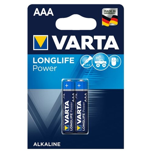 Фото - Батарейка VARTA LONGLIFE Power AAA 2 шт блистер батарейка varta longlife c блистер 2шт