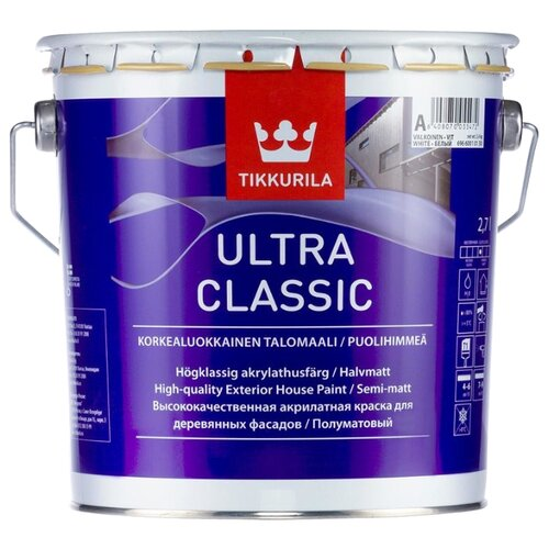 Краска акриловая Tikkurila Ultra Classic полуматовая белый 2.7 л 1 (A/BW)
