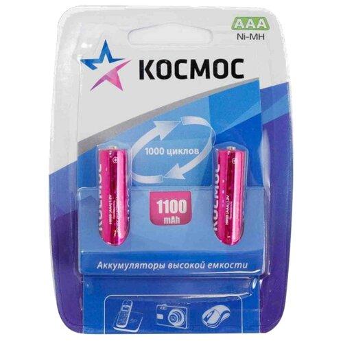 Аккумулятор Ni-Mh 1100 мА·ч КОСМОС R03NIMH 1100MAH 2 шт блистер аккумулятор ni mh 2700 ма·ч эра c0038458 2 шт блистер