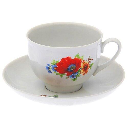 Дулёвский фарфор Чашка чайная с блюдцем Гранатовый Полевой мак 275 мл