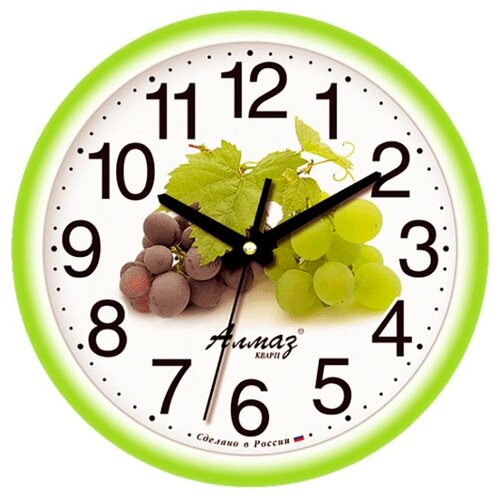 Часы настенные кварцевые Алмаз E48 зеленый/белый часы настенные кварцевые алмаз p12 золотистый белый