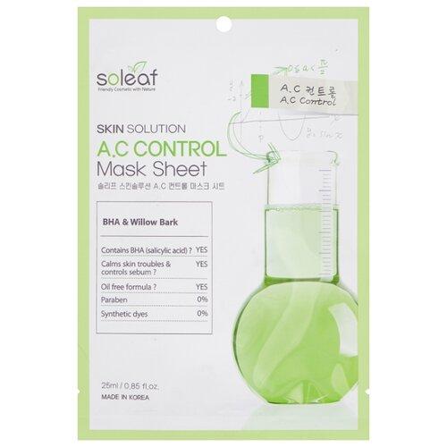 Soleaf Тканевая маска Skin Solution A.C Control Mask Sheet, 25 мл mediheal zero solution skin chart teatre pair mask