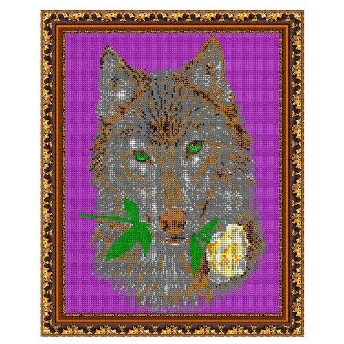 Светлица Набор для вышивания бисером Волк и роза 24 х 30 см, бисер Чехия (495П)