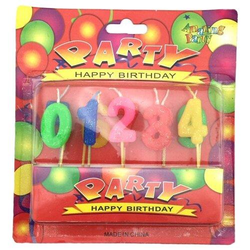 Flatel Свечи для торта Happy Birthday. Цифры (MC-1903283) (10 шт.) красный/синий/зеленый/желтый апплика зеркальца для декорирования цветные улитки c3750 01 8 шт желтый зеленый синий красный
