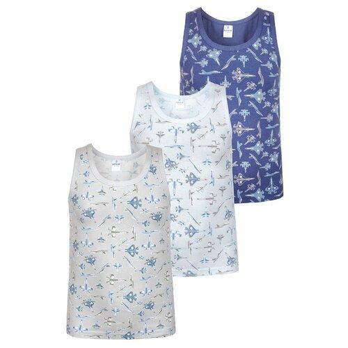 Купить Майка BAYKAR 3 шт., размер 110/116, голубой/бежевый/синий, Белье и пляжная мода